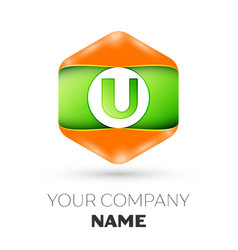 Letter u logo in the colorful hexagonal vector