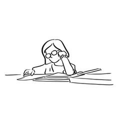 little girl with glasses doing homeworks on table vector image