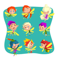 Little winged elves set cute fairytale elf vector