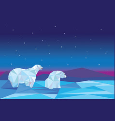 Low poly polar bears sitting on ice vector