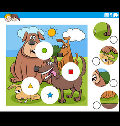 Match pieces puzzle with comic dogs characters vector