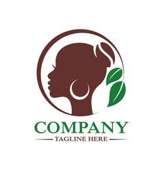 Modern beautiful african woman and coffee logo vector