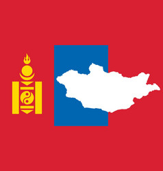 Mongolia national flag with map silhouette vector