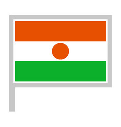 Niger flag on flagpole icon vector