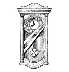 old pendulum clock vector image