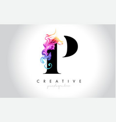p vibrant creative leter logo design with vector image