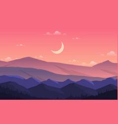 Peaceful mountain panorama landscape in vector