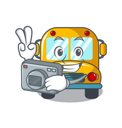 Photographer school bus mascot cartoon vector