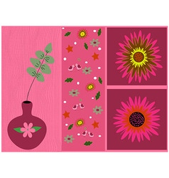 Pink flowers card vector image