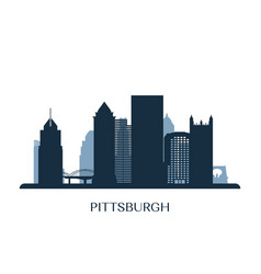 Pittsburgh skyline monochrome silhouette vector