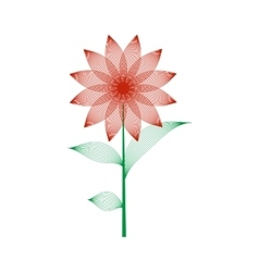 Red flower with leaves sign pattern vector image