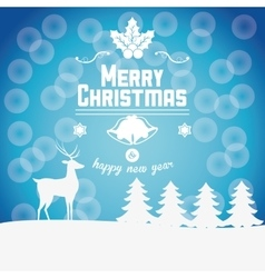 Reindeer and pine tree of Christmas design vector