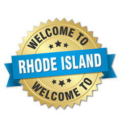 rhode island 3d gold badge with blue ribbon vector image