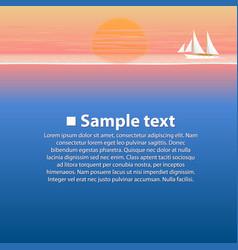 sailing boat in sea at sunset vector image