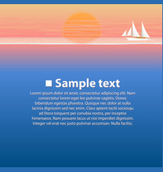sailing boat in the sea at sunset vector image