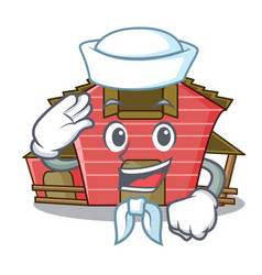 Sailor character red barn building with haystack vector