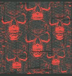 seamless pattern with human skulls and lorem ipsum vector image