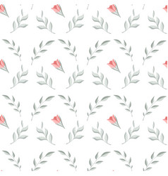 seamless pattern with leaves twigs flowers vector image