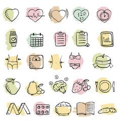 set of hand drawn diet icons set set of hand vector image vector image