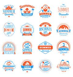 Set of summer discount promotional emblem design vector