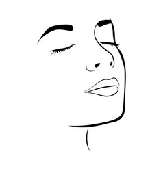 Sketch female face silhouette with eyes closed vector
