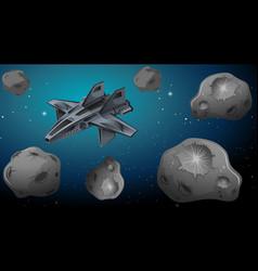Space ship in universe vector