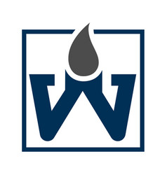 square letter w with water drop concept design vector image