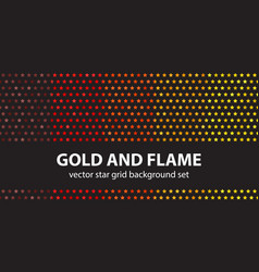 star pattern set gold and flame seamless vector image