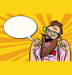 stylish bearded hipster with glasses funs vector image