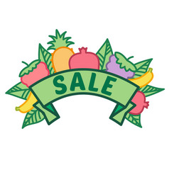 summer sale sign on ribbon with fruit berries and vector image
