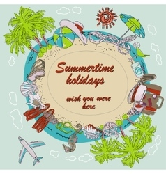 Summertime round frame vector image
