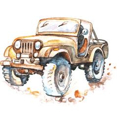 Suv car watercolor vector