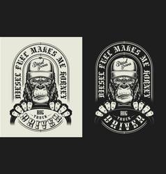 T-shirt print with gorilla concept vector
