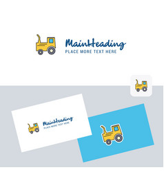 tractor logotype with business card template vector image