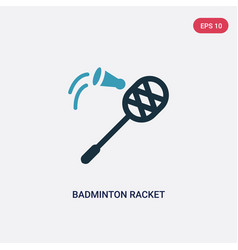 two color badminton racket and feather icon from vector image