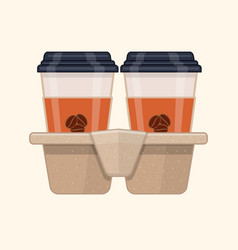 Two take-out coffee in holder vector