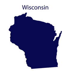 United states wisconsin dark blue silhouette vector