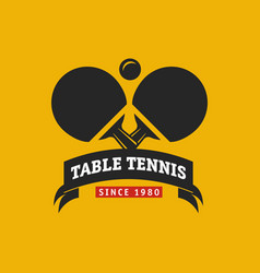 vintage color table tennis logo ping pong vector image