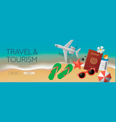 web banner template on theme travel vector image