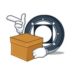 With box byteball bytes coin character cartoon vector