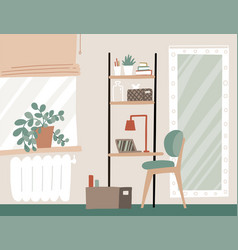 Workplace at home home office interior in vector