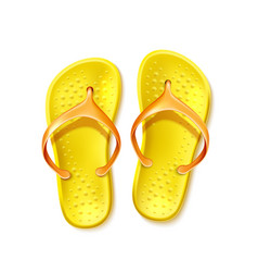 Yellow flip flops beach footwear slippers vector