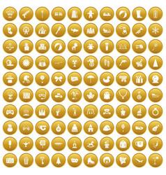 100 children icons set gold vector image
