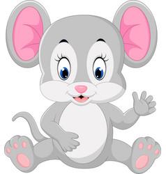 cute mouse cartoon waving vector image vector image