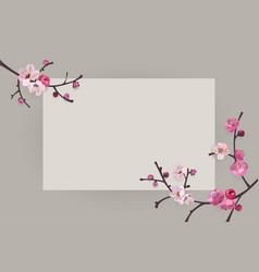 elegant frame design with sakura blooming branches vector image vector image