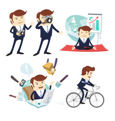 funny business man wearing suit doing yoga vector image vector image