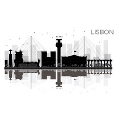 lisbon city skyline black and white silhouette vector image vector image