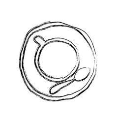 monochrome sketch hand drawn of coffee cup top vector image