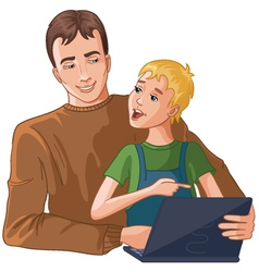 Father and boy working with laptop vector image