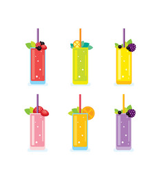 fresh summer drinks smoothie and juice glasses vector image